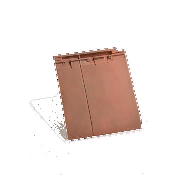 Accessoire terre cuite d'EDILIANS : Tuile et demie de finition gauche à recouvrement HP 17 Flammé Rustique