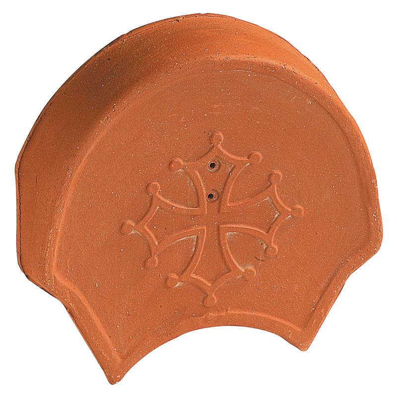 Accessoire terre cuite d'EDILIANS : Fronton Croix Occitane pour faîtières pureau variable et rives rondes Rouge