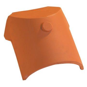 Accessoire terre cuite d'EDILIANS : Rencontre porte poinçon 3ouvertures, 1faîtière 1/2ronde, 2arêtiers angulaires Amarante Rustique