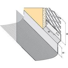Solin arrêt d'enduit Zinc naturel + bavette plomb plissé naturel 145mm
