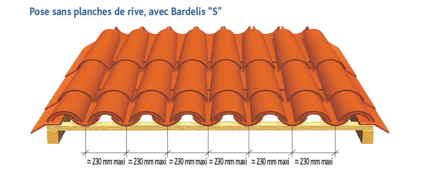 Tuile CANAL CHARENTAISE Poudenx d'EDILIANS : Pose sans planche de rive, avec Bardelis S