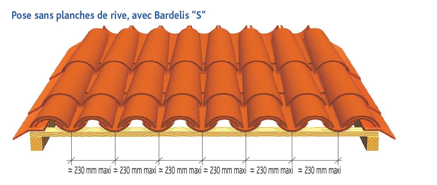 Tuile CANAL GIRONDE 50 Poudenx d'EDILIANS : Pose sans planche de rive, avec Bardelis S