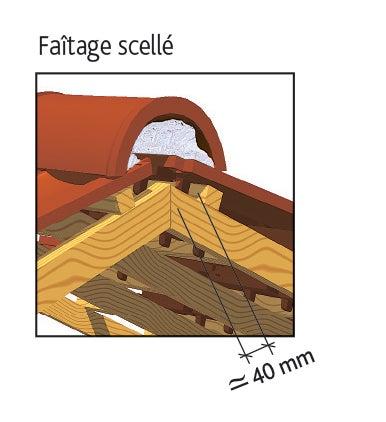 Tuile MARSEILLE Poudenx d'EDILIANS : Faîtage scellé