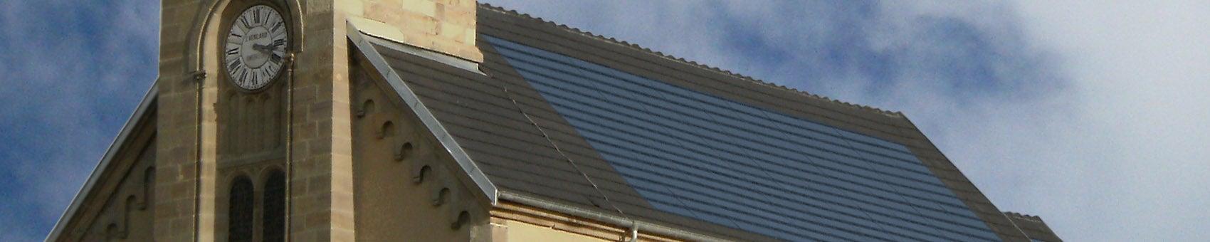 EVOLU KIT, kit photovoltaïque posé sur toit d'église à Saint Gordon