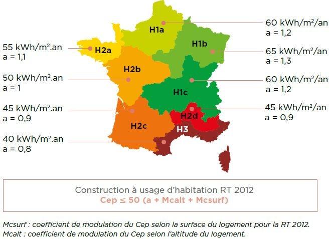 Construction à usage d'habitation RT 2012 Cep ≤ 50 (a + Mcalt + Mcsurf)construction à usage d'habitation RT 2012